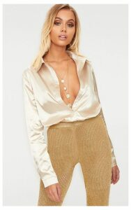 Champagne Satin Button Front Shirt, Yellow