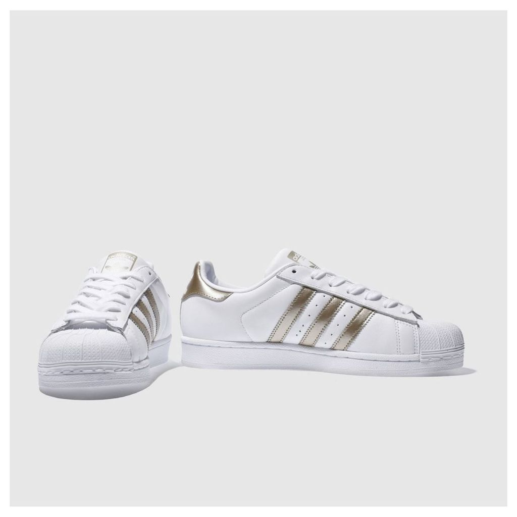 Adidas White & Gold Superstar Trainers