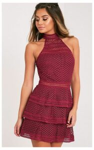 Berry Lace Panel Tiered Bodycon Dress, Pink