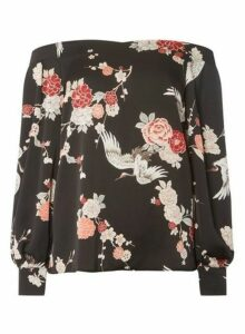 Womens **Tall Black Floral Print Sweetheart Top, Black