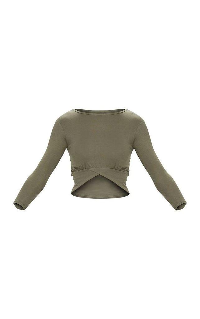 Basic Khaki 3/4 Sleeve Crop Top, Green
