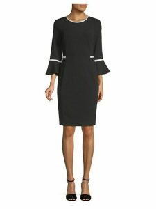 Two-Tone Bell-Sleeve Sheath Dress