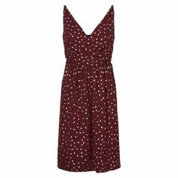 Polka Dot Print Dress with Shoestring Straps
