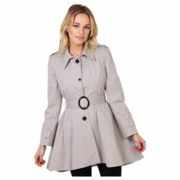 Krisp  Belted Trench Coat [Stone]  women's Trench Coat in Red