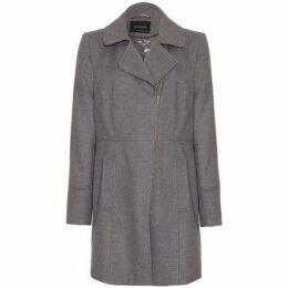 Anastasia  - Grey Double Breast Zip Military  women's Coat in Grey
