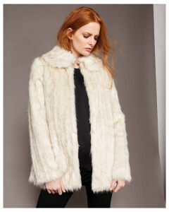 Ted Baker Faux fur collared coat Ivory