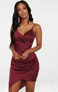 Shape Burgundy Satin Wrap Dress, Red
