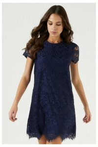 Lipsy Lace Shift Dress - 4 - Blue