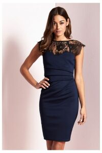 Lipsy Eyelash Lace Sweetheart Contrast Bodycon Dress - 18 - Blue