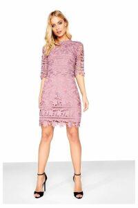 Womens Little Mistress Crochet Shift Dress -  Pink