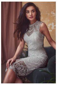 Lipsy VIP Lace Midi Dress - 12 - Silver