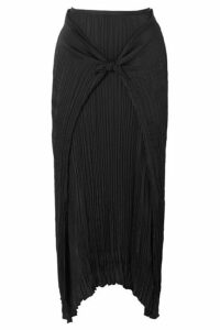 Vince - Tie-front Plissé-twill Skirt - Black