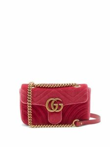Gucci - Gg Marmont Mini Quilted Velvet Cross Body Bag - Womens - Pink