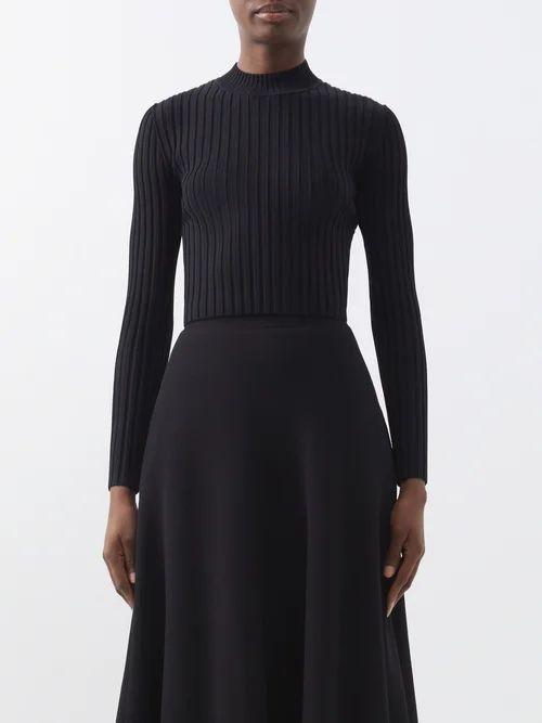 Altuzarra - Cheyanne Deep V Neck Scarf Print Stretch Cady Top - Womens - Black Multi