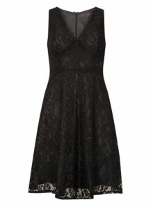 Womens **Luxe Black Lace V-Neck Prom Dress- Black, Black