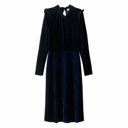 High Neck Velour Dress