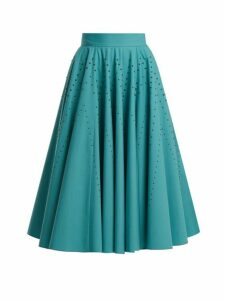Bottega Veneta - Studded A Line Cotton Poplin Skirt - Womens - Blue