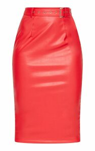 Red Faux Leather Belt Midi Skirt, Red