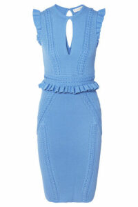 Rebecca Vallance - Majorca Ruffled Pointelle-knit Dress - Blue