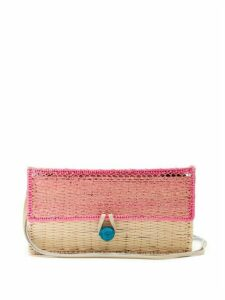Sophie Anderson - Romina Toquilla Straw Cross Body Bag - Womens - Pink Multi