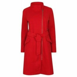 Anastasia  Womens Red Zip Belted Winter Coat  women's Trench Coat in Red