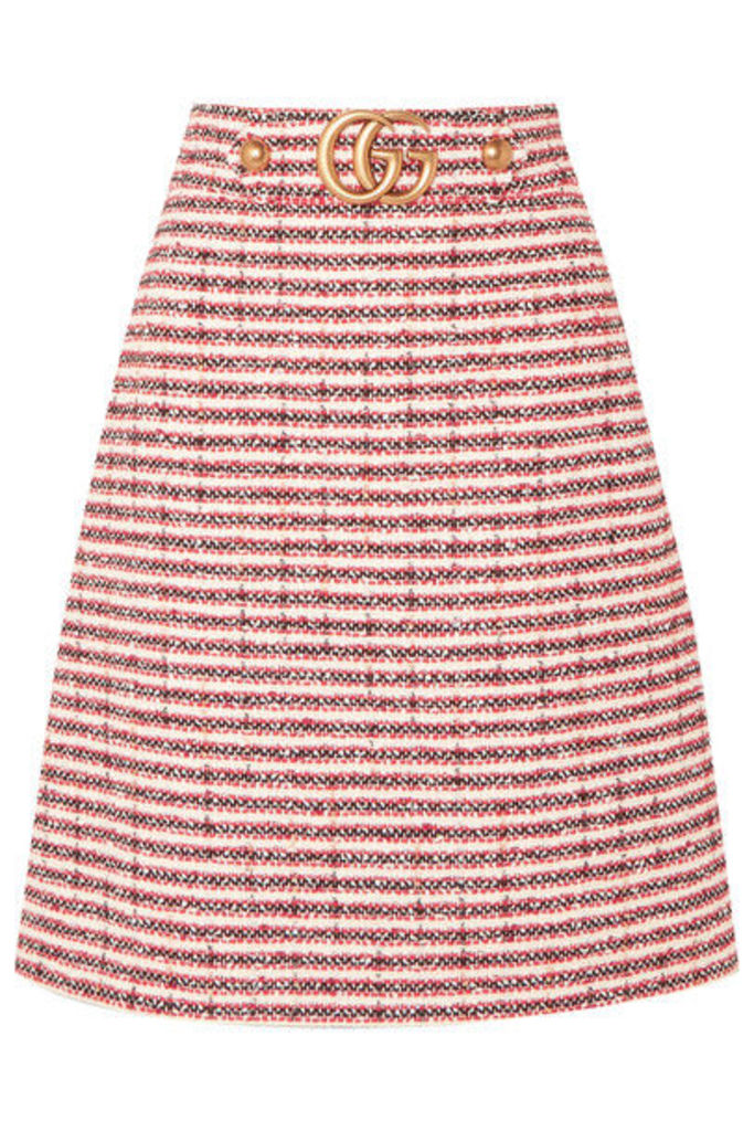 Gucci - Embellished Striped Tweed Skirt - Red