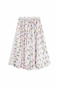 Sandy Liang Linguini Printed Silk Skirt