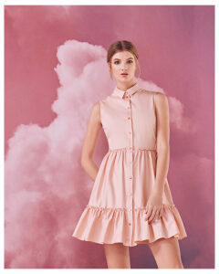 Ted Baker Sleeveless collared cotton-blend dress Dusky Pink