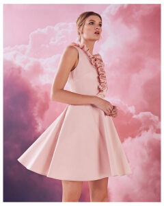 Ted Baker Ruffle V-neck cotton-blend skater dress Dusky Pink