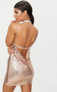 Rose Gold Chain Strap Sequin Plunge Bodycon Dress, Pink