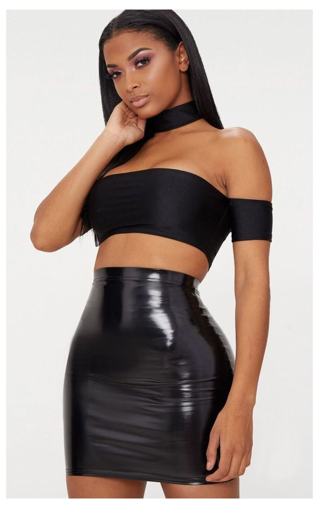 Shape Black Vinyl Bodycon Skirt, Black