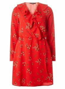 Womens **Vero Moda Red Print Wrap Dress- Red, Red