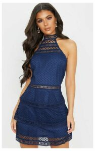 Navy Lace Panel Tiered Bodycon Dress, Blue