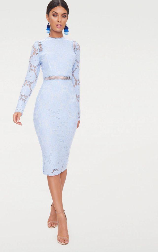 Dusty Blue Long Sleeve Lace Bodycon Dress, Blue