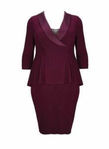 **Scarlett & Jo Purple Tuxedo Bodycon Dress, Purple