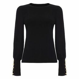 Damsel in a Dress Peyton Button Sleeve Jumper, Black