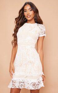 White Frill Hem Lace Bodycon Dress, White