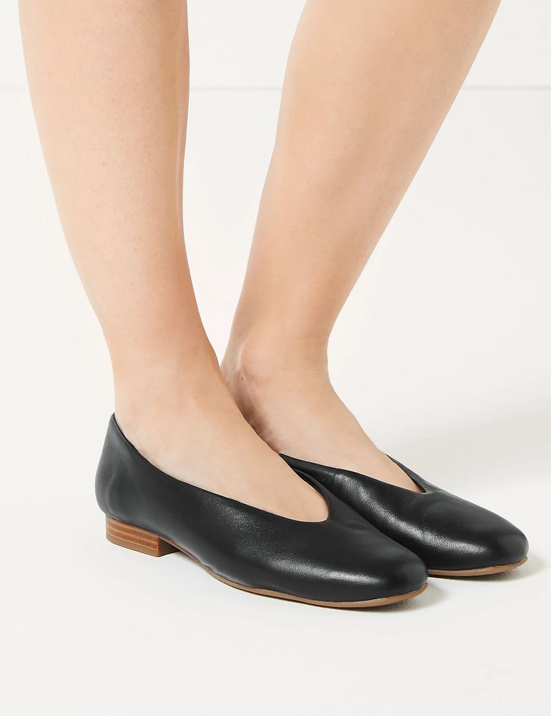 M&S Collection Leather High Cut Ballerina Pumps