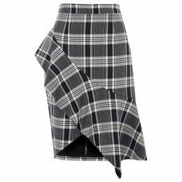 Womens Navy check asymmetric frill pencil skirt