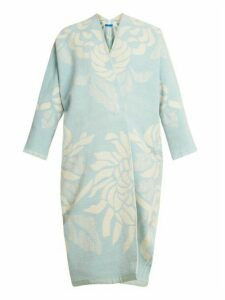 Marit Ilison - Reversible Floral Jacquard Cotton Chenille Coat - Womens - Blue White