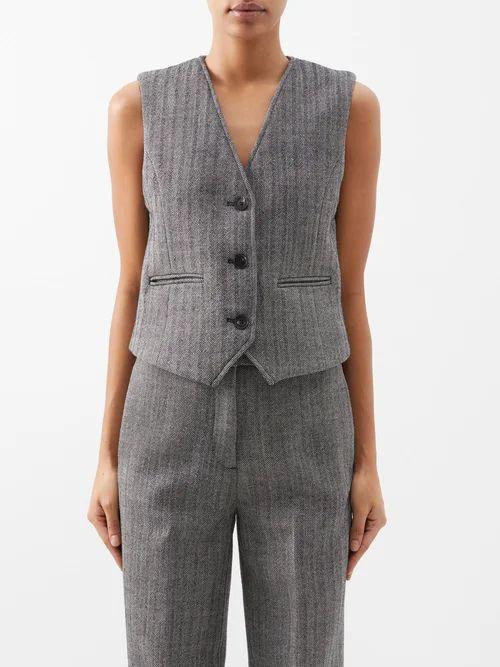 Isabel Marant - Berny Floral Print Silk Blend Blouse - Womens - Blue Print