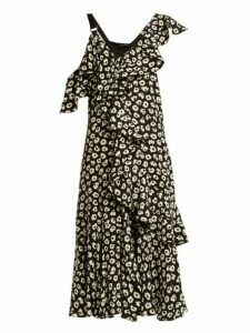 Proenza Schouler - Floral Print Silk Crepe Midi Dress - Womens - Black Multi