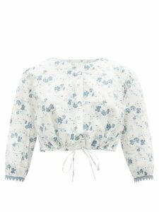 Saloni - Tracy Floral Embroidered Dress - Womens - Green Multi