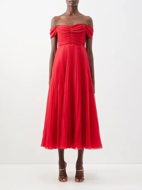 Prada - Pleated Rabbit Print Skirt - Womens - Blue Print