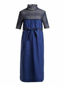 Thierry Colson - Elizabethan Contrast Panel Cotton Dress - Womens - Navy