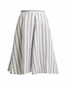 Thierry Colson - Biarritz Spunga Striped Linen Blend Skirt - Womens - Blue Stripe