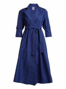 Thierry Colson - Sacha Tie Waist Cotton Poplin Coat - Womens - Navy