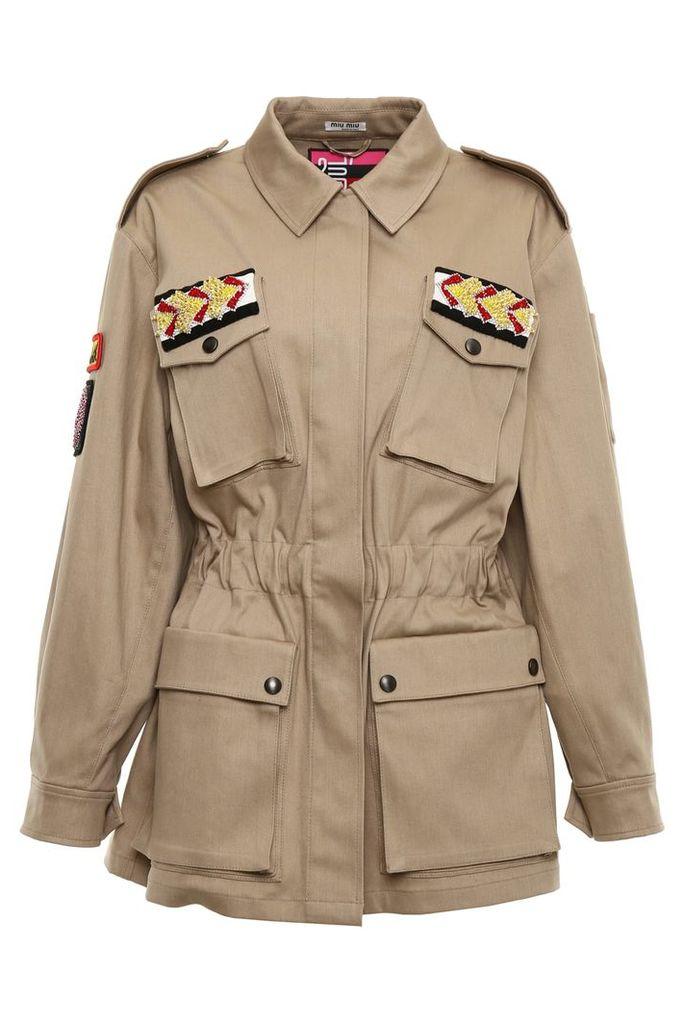 Miu Miu Stretch Denim Jacket With Patches