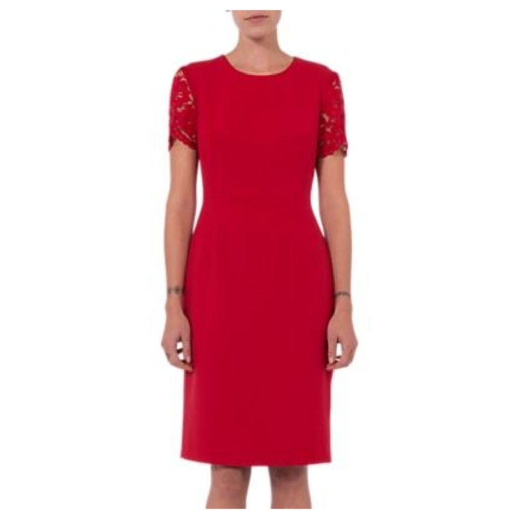 French Connection Whisper Ruth Round Neck Dress, Blazer Red