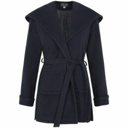 De La Creme  Winter Wool Cashmere Wrap Hooded Coat  women's Parka in Blue